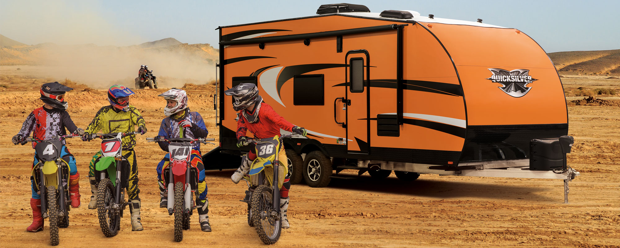 QuickSilver Lightweight Toy Hauler with Dirtbikes and ATVs Camping